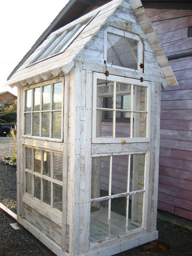 Tool shed made of salvaged windows