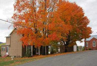 old house and fall foliage