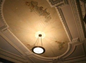 Recent ceiling repair reveals original frescos in sitting room