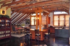 The main dining area of a 19th century church converted into a home in Boulder, Colo. Photo courtesy of Goodacre & Co.