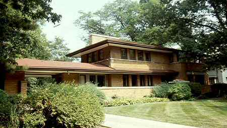 The Prairie Style is characterized by strong horizontal lines like those  ofthis Frank Lloyd Wright house in Oak Park, IL