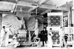 1915 ornamental plaster studio with personnel
