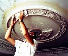 Home page logo: Running and enriching a ceiling medallion. Photo: Peter Sanders.
