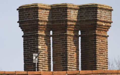 A series of old chimneys