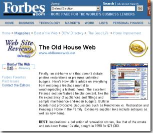 Home Improvement Sites in the news | old house web